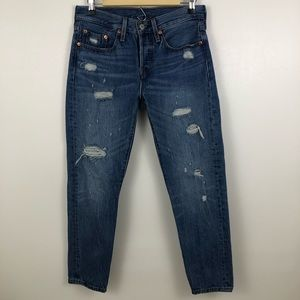 Levi's 501 Skinny Button Fly Distressed Jeans